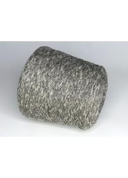 Меринос 30%, буретный шелк 70% графитово-сливочный меланж